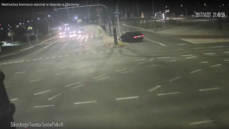 Trafił w latarnię. Stracił prawo jazdy, bo prowadził pijany