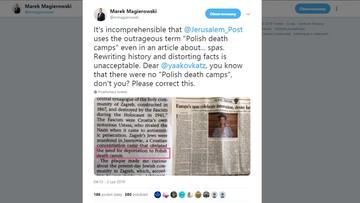 """""""Polskie obozy śmierci"""" w """"Jerusalem Post"""". Interweniował ambasador RP"""