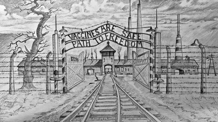 Antyszczepionkowe ulotki z grafiką obozu Auschwitz. Skandal na Wyspach
