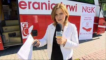 Oddaj krew przed siedzibą Polsatu