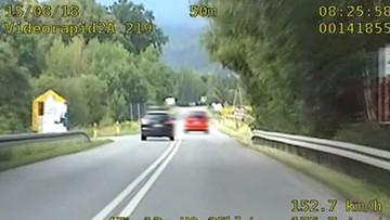 34 punkty karne w 25 sekund. Kierowca mazdy m.in. wyprzedzał policję na podwójnej ciągłej