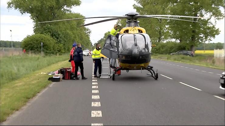 Wypadek auta osobowego i tira. Śmigłowiec LPR przyleciał po ciężko ranną kobietę i uległ awarii