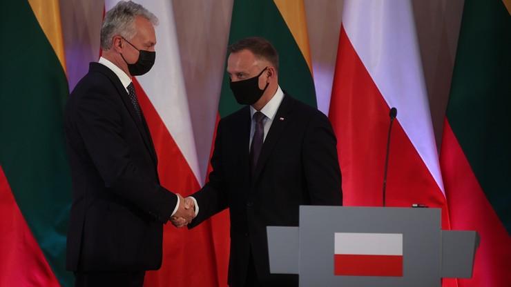 Wizyta prezydenta Litwy Gitanasa Nausedy w Polsce. Wspólne przemówienie głów państw