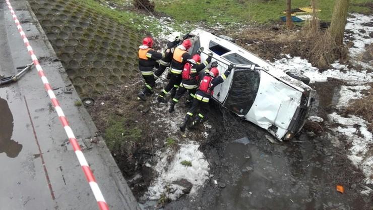 """[ZDJĘCIA] Auto przebiło barierkę i spadło z mostu. Kierowca """"chciał ominąć psa"""""""