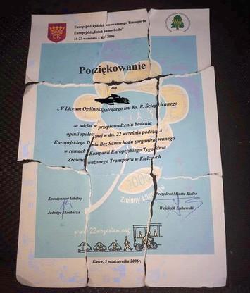 Jeden z dokumentów znalezionych w śmieciach wyrzuconych w daleszyckim lesie