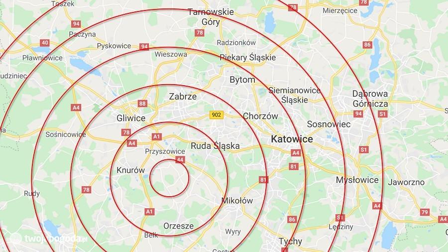Epicentrum trzęsienia ziemi na Górnym Śląsku. Fot. TwojaPogoda.pl / Google Maps.