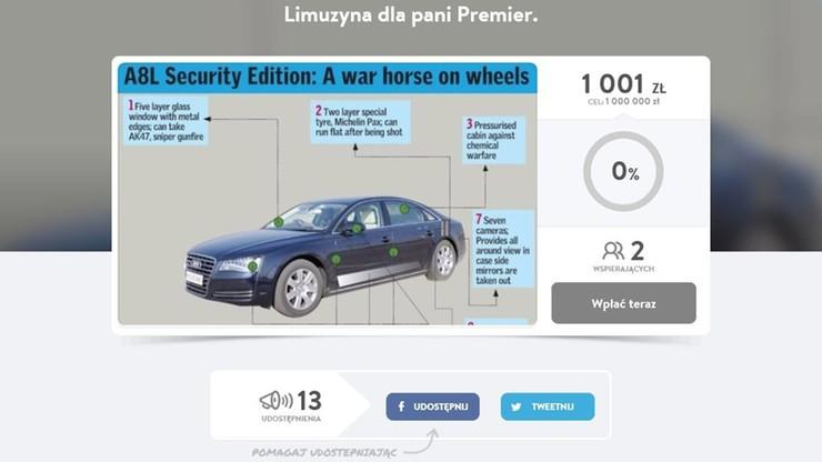 """Chcą uzbierać milion zł. """"Na nową limuzynę dla Pani premier"""""""