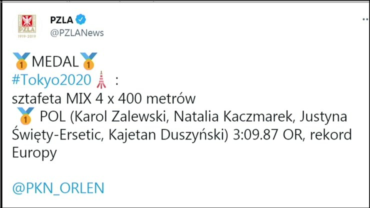 Polska sztafeta mieszana 4x400 m zdobyła złoty medal olimpijski