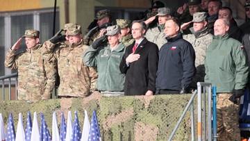"""God bless Poland, God bless America, God bless American soldiers"". Prezydent Andrzej Duda w Żaganiu"