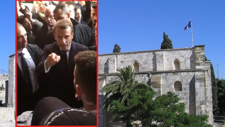 Macron krzyczał na izraelskich policjantów w Bazylice św. Anny. Uznał, że złamali zasady [WIDEO]