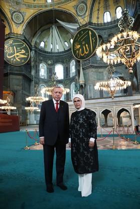 Prezydent Turcji z małżonką
