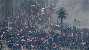 """Marsz Niepodległości. Starcia z policją, """"kilku rannych funkcjonariuszy"""""""