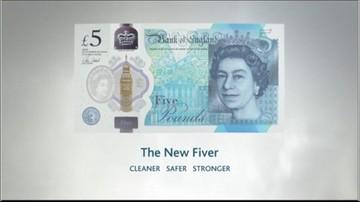 Trwały i nie do podrobienia. Anglia wprowadziła nowy pięciofuntowy banknot