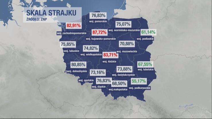 Skala strajku w regionach.