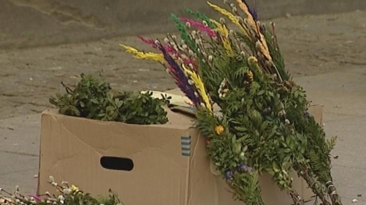 Ogłoszenie parafialne: palmy kupione przed bramami kościoła nie przyjmują na siebie wody święconej