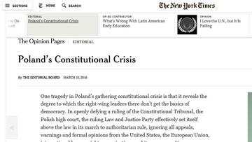 """""""New York Times"""": PiS przekroczyło czerwoną linię; potrzebne silne przesłanie USA"""