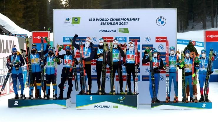 MŚ w biathlonie: Norwegowie najlepsi w sztafecie, Polacy zdublowani