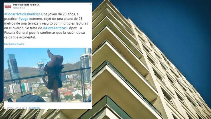 Ćwiczyła jogę na balkonie. Spadła z 25 metrów