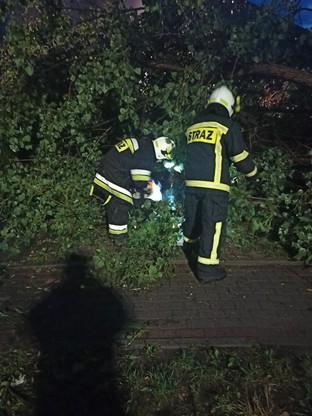 Strażacy usuwali w nocy skutki gwałtownych nawałnic