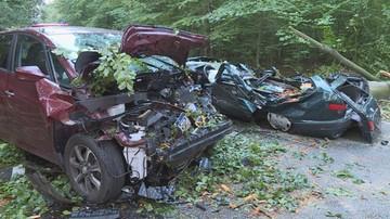 Burza, drzewo przygniotło dwa samochody. Zablokowana droga krajowa nr 25 w Drołtowicach
