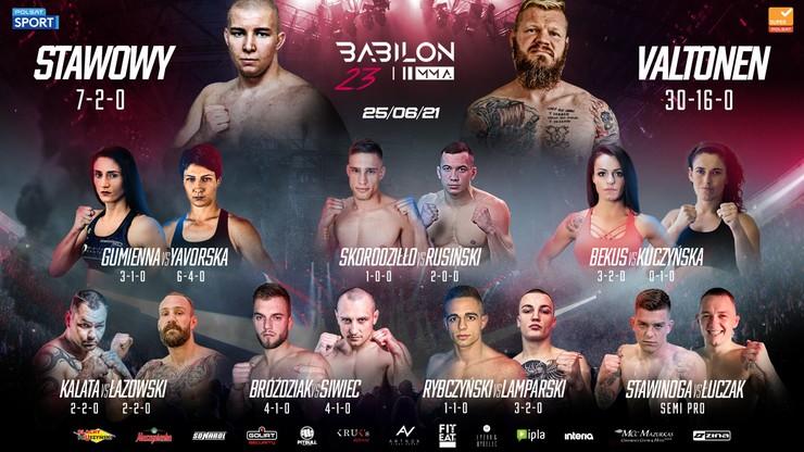 Babilon MMA 23: Gala z kibicami. Pełna karta walk