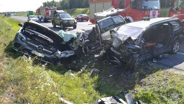 Zderzenie trzech aut i ciężarówki koło Olsztyna. Cztery osoby ciężko ranne
