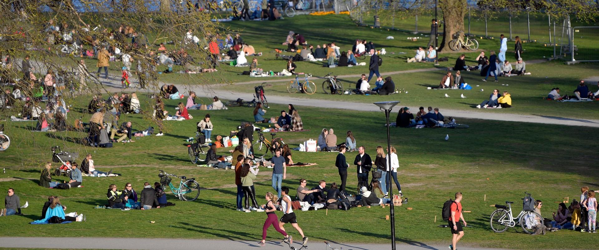 Szwedzi w parku w Sztokholmie