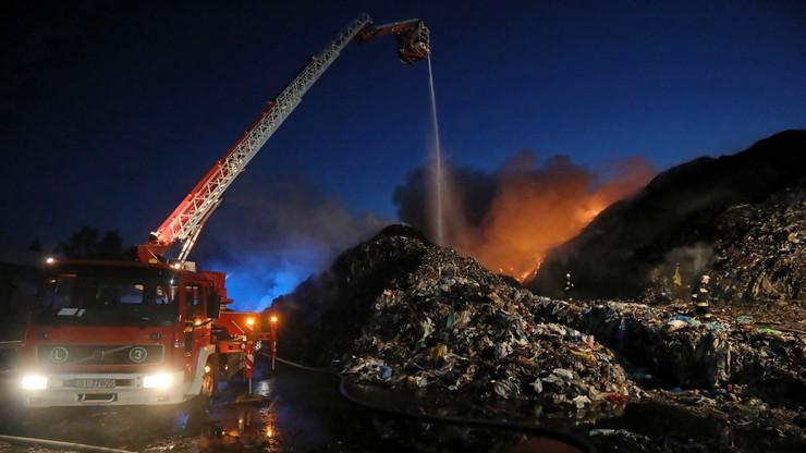 Pożar składowiska odpadów w Studziankach (woj. podlaskie)