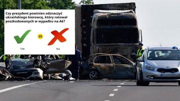 Prezydent może odznaczyć ukraińskiego kierowcę, który uratował pasażerów na A6 [SONDA]