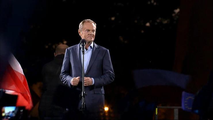 Donald Tusk na Placu Zamkowym: czułem się zobowiązany podnieść alarm w krytycznym momencie