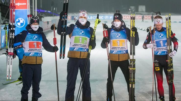 PŚ w biathlonie: Zwycięstwo Norwegów w sztafecie, Polacy zdublowani