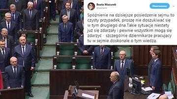 """Minuta ciszy w Sejmie. Kaczyńskiego, Terleckiego i Mazurek nie było. """"Spóźnienie to przypadek"""""""