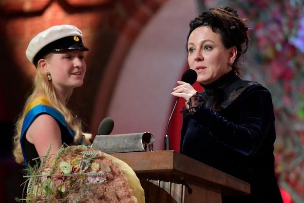 Tokarczuk wygłosiła krótką przemowę.
