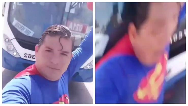 Próbował zatrzymać autobus w stroju Supermana. Został potrącony