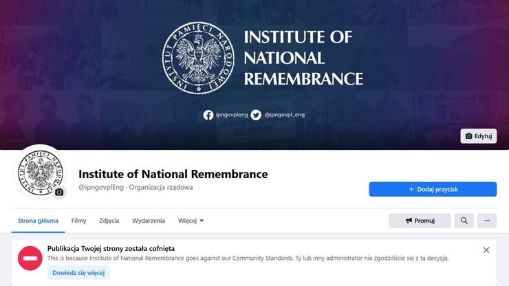 Facebook zablokował konto IPN. Kolejny taki przypadek