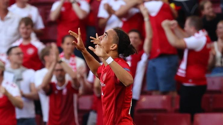 Euro 2020. Dania - Belgia 1:0. Gol Yussufa Poulsena