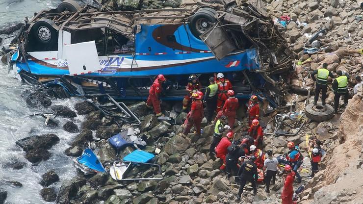 """Wypadek autobusu na """"diabelskim zakręcie"""" w Peru. Liczba ofiar wzrosła do 48"""
