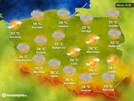 Mapa pogody na wtorek, 3 sierpnia