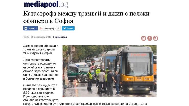 Polski jeep potrącony przez polski tramwaj. Na ulicach Sofii