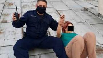 Poszukiwana uciekła na dach. Trzeba było wezwać strażaków