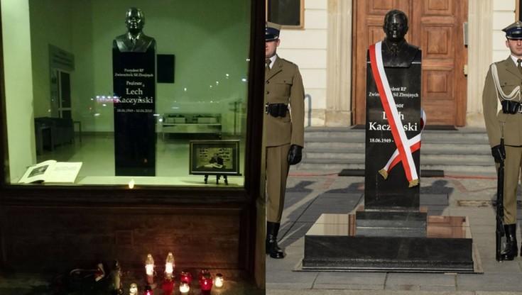 Dopiero co odsłonięte popiersie Lecha Kaczyńskiego, przeniesiono do budynku