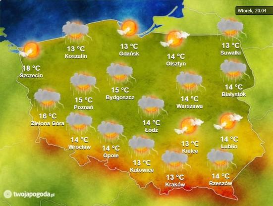 Mapa pogoda na wtorek, 20 kwietnia