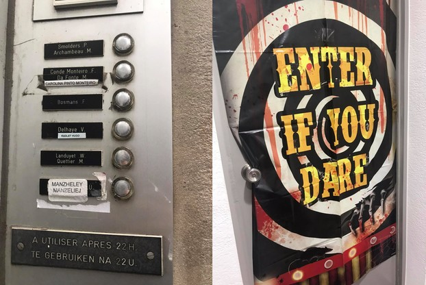 Domofon z nazwiskiem Manzheley i drzwi do mieszkania organizatora seks party.