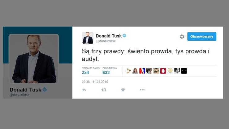 """Donald Tusk o trzech rodzajach prawd. Na Twitterze skomentował """"audyt"""""""