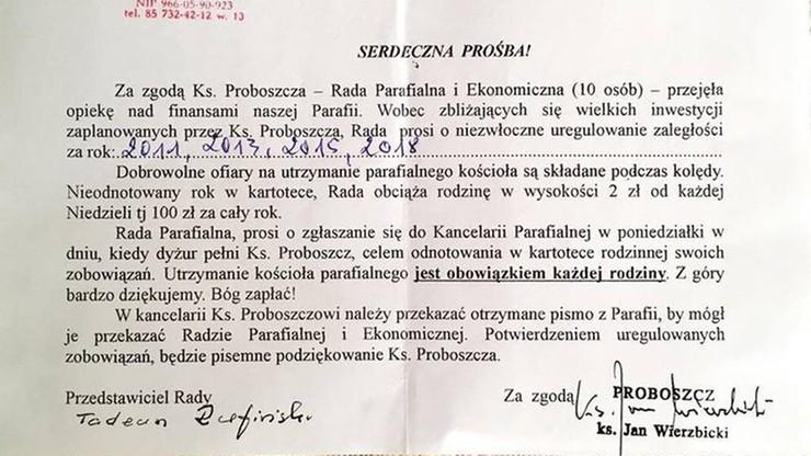 """Proboszcz białostockiej parafii przeprasza. Wzywał do opłacenia """"zaległej"""" ofiary"""