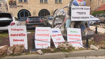 """""""Morawiecki, Orban, Pellegrini, Babisz, zwróćcie żydowski majątek"""". Protest w Jerozolimie"""