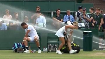 Wimbledon: zimny prysznic z gumowego węża wystraszył tenisistów