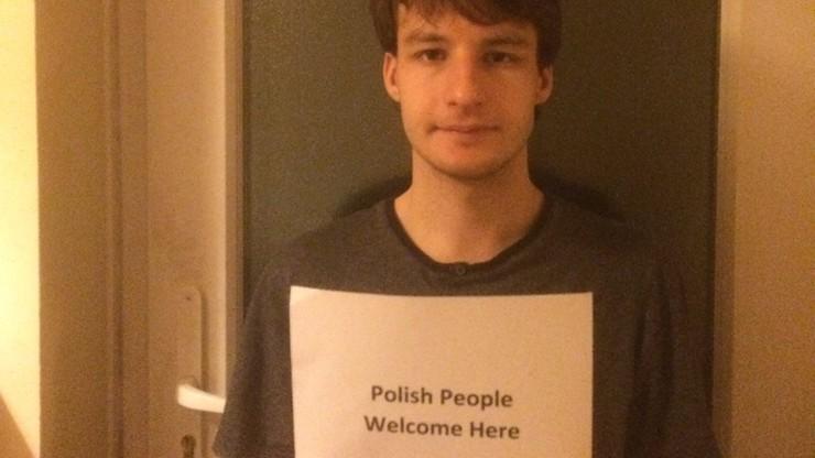 """""""Polacy mile widziani"""". Gest solidarności młodego Brytyjczyka"""