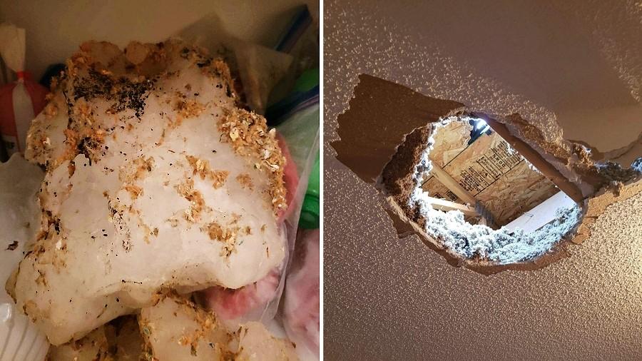 Bryła lodu przebiła sufit i wpadła do sypialni. Fot. Facebook / WQOW News 18.