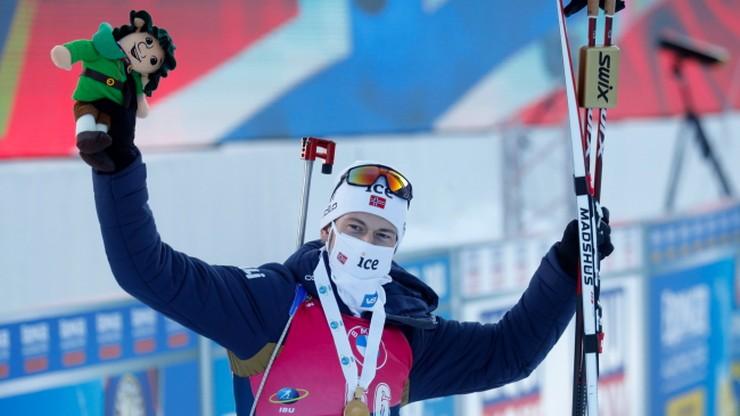 MŚ w biathlonie: Sturla Holm Laegreid wygrał bieg na 20 km